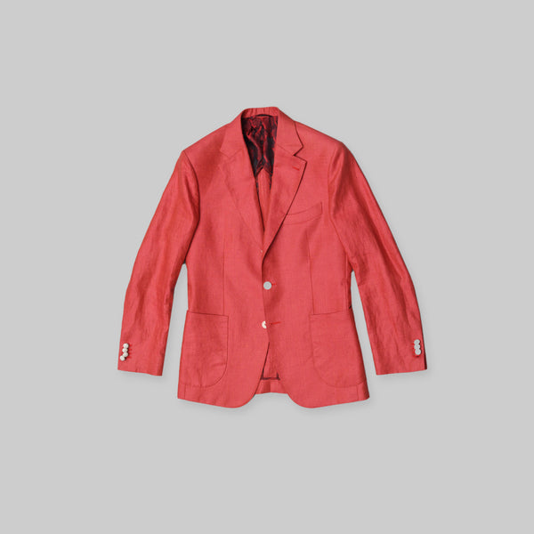 Made-to-Order Red Linen Sports Jacket