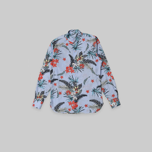 Made-to-Order Floral Printed  Long-sleeved Cotton Shirt