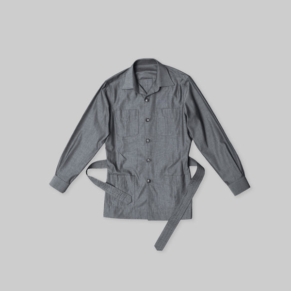 Made-to-Order Grey Cotton Safari Jacket with Matching Adjustable Belt