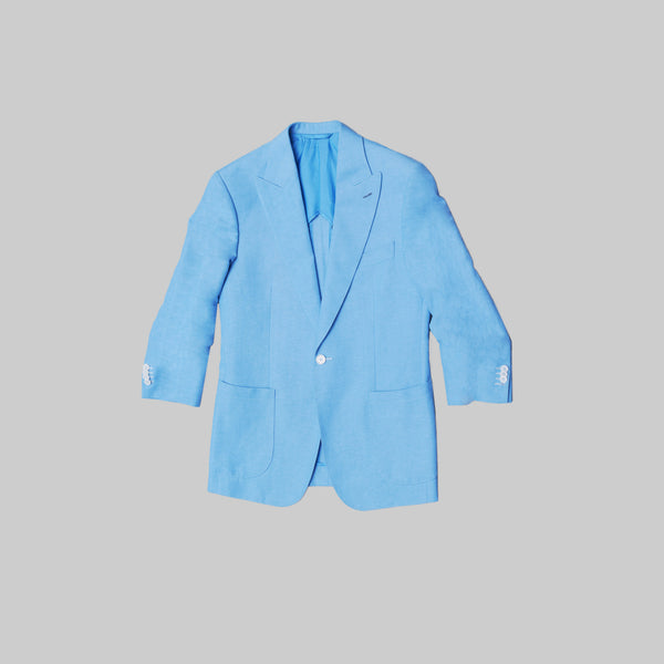 Made-to-Order Baby-blue Ruched-sleeved Link-front Linen Sports Jacket