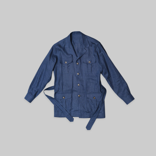 Made-to-Order Navy-blue Linen Safari Jacket with Matching Adjustable Belt