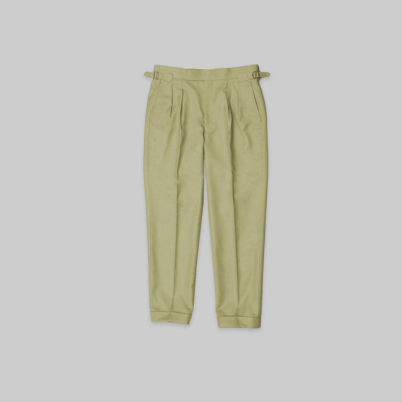 Made-to-Order Khaki-green Wool Trousers