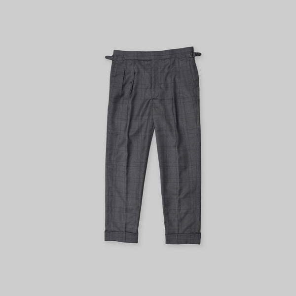Made-to-Order Charcoal-grey Windowpane Check Wool Trousers