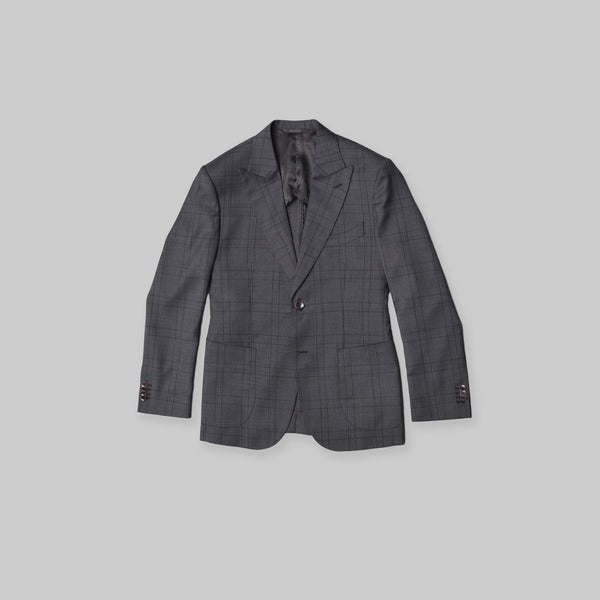 Made-to-Order Charcoal-grey Windowpane Check Wool Suit Jacket