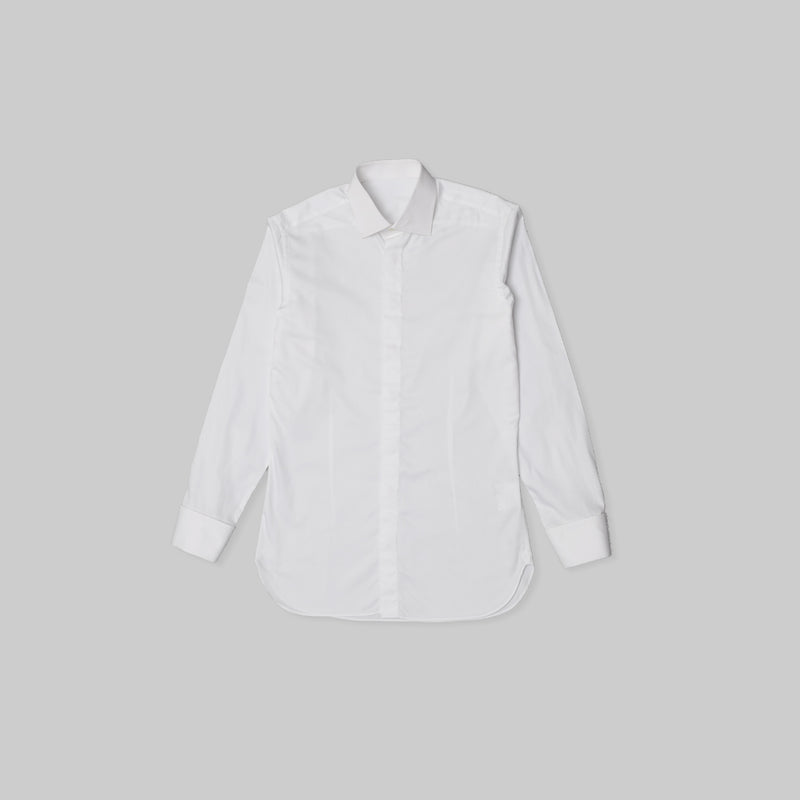 Made-to-Order Business White Long-sleeved Cotton Shirt with Hidden Placket