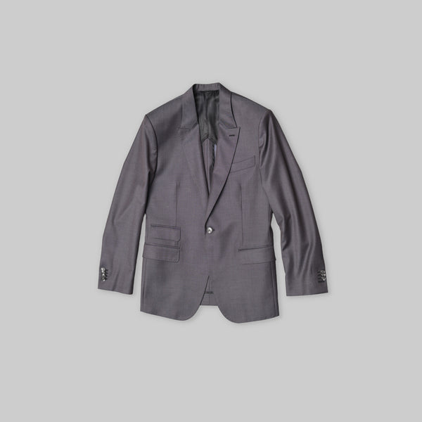 Made-to-Order Iridescent-grey Link-front Wool Suit Jacket