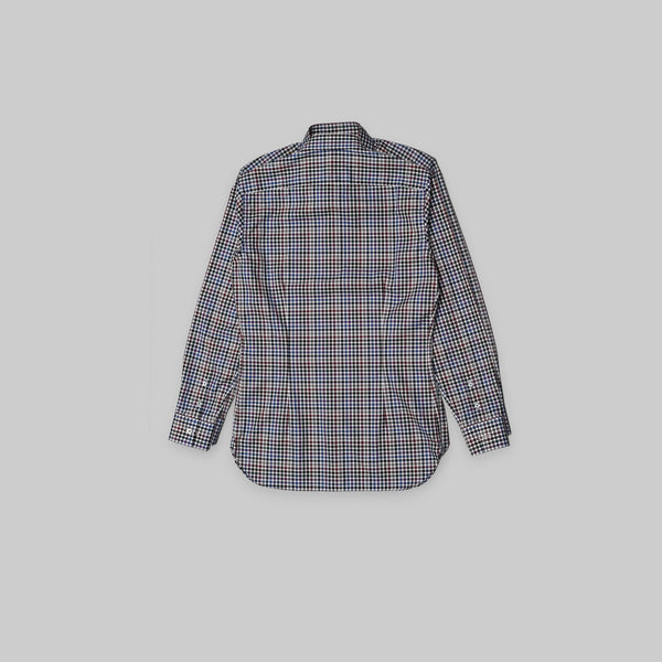 Made-to-Order Multi-coloured Gingham Long-sleeved Cotton Shirt