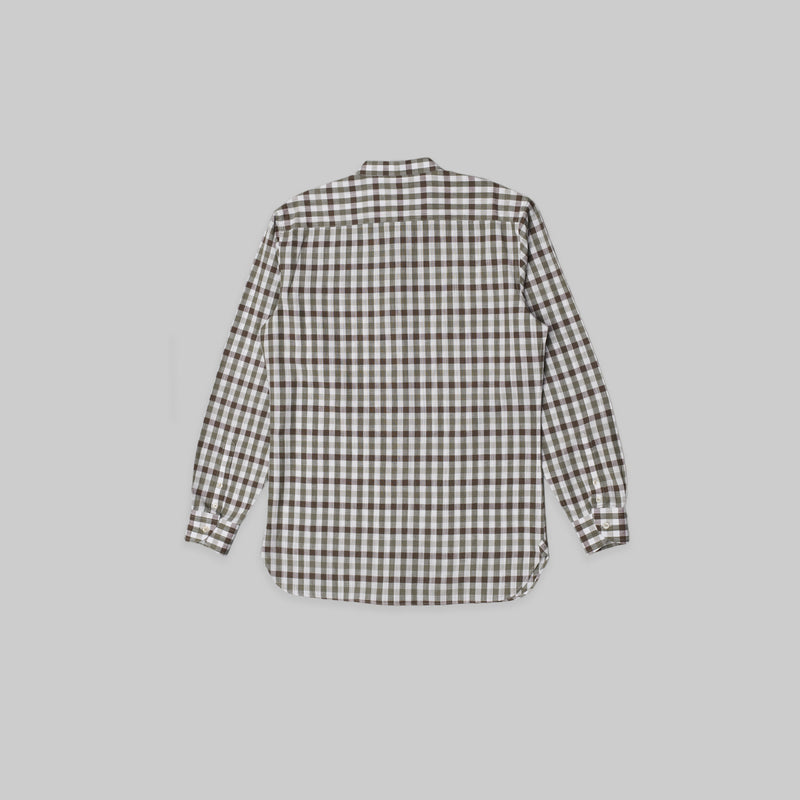 Made-to-Order Brown Gingham Long-sleeved Linen Shirt