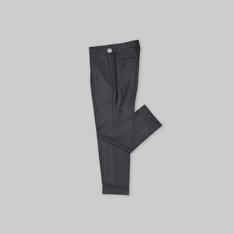 Made-to-Order Charcoal Grey Pin-stripe Wool Trousers