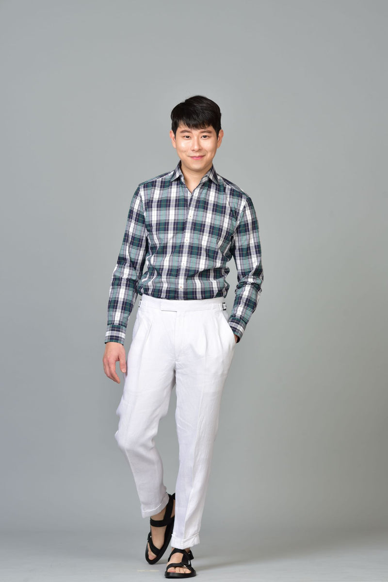 Made-to-Order White Linen Trousers