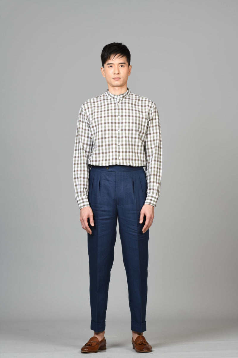Made-to-Order Navy-blue Linen Trousers