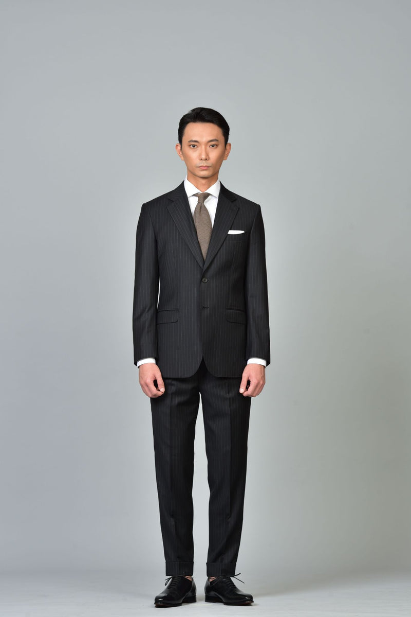 Made-to-Order Charcoal Grey Pin-stripe Wool Suit Jacket