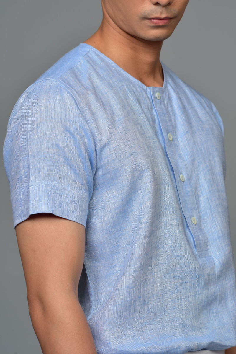 Made-to-Order Casual Blue  Henley Linen Shirt