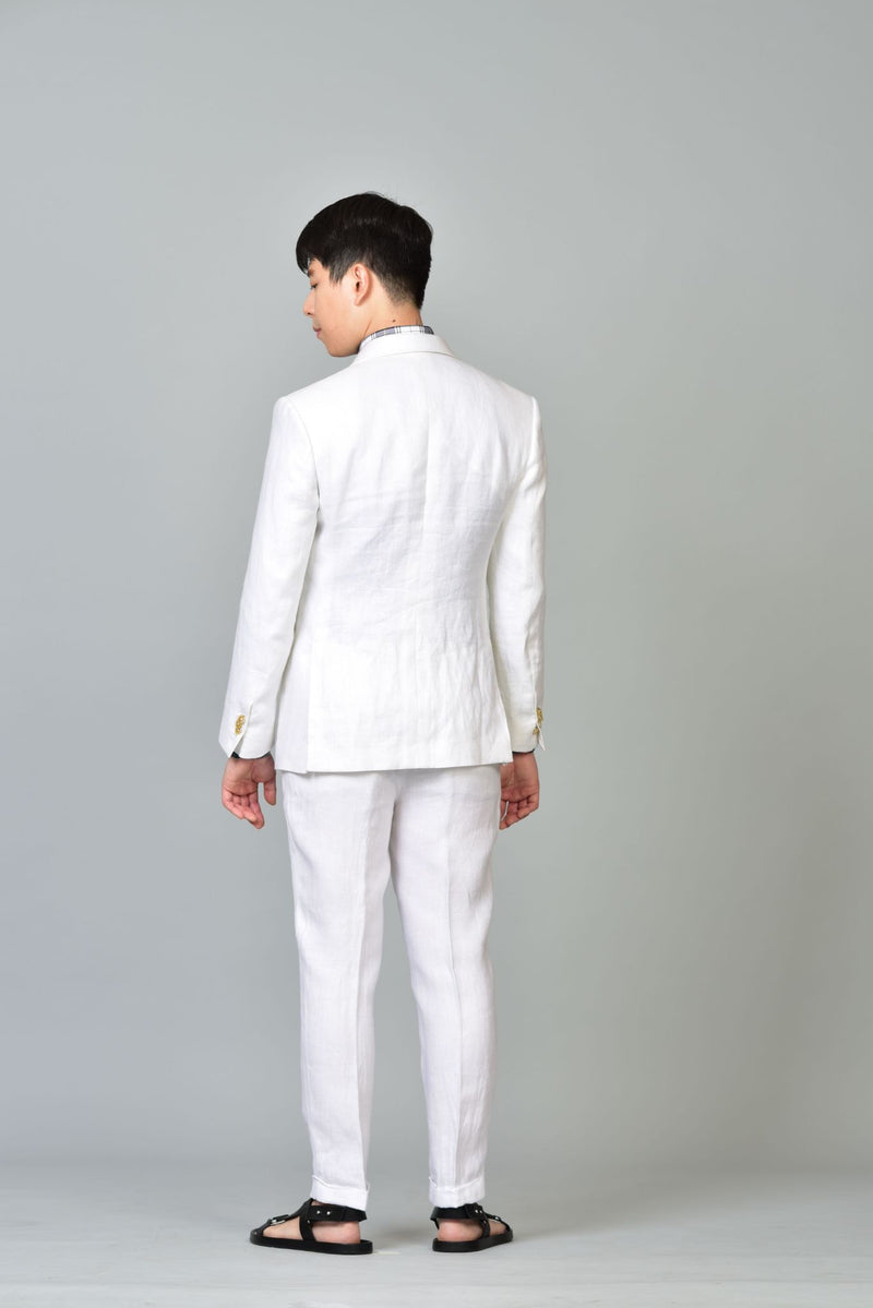 Made-to-Order White Linen Sports Jacket