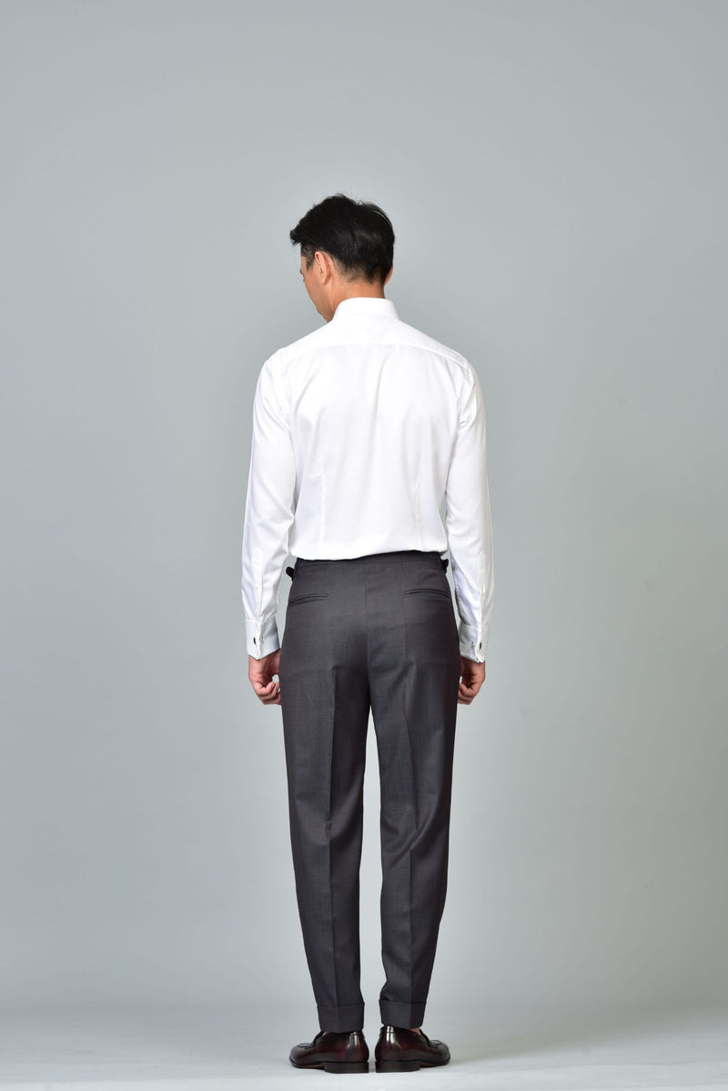 Made-to-Order Iridescent-grey Wool Trousers