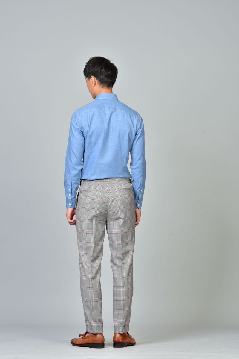 Made-to-Order Grey Windowpane Check Wool Trousers