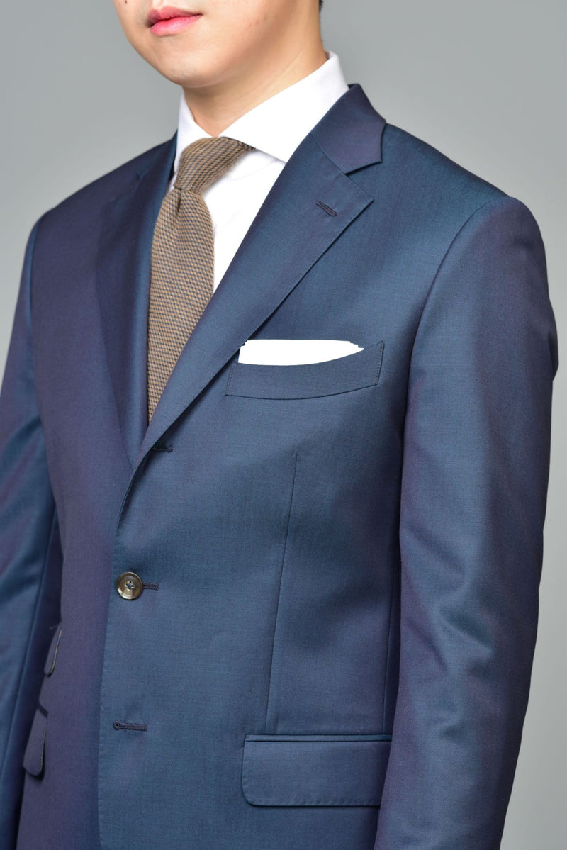 Made-to-Order Iridescent-blue Wool Suit Jacket