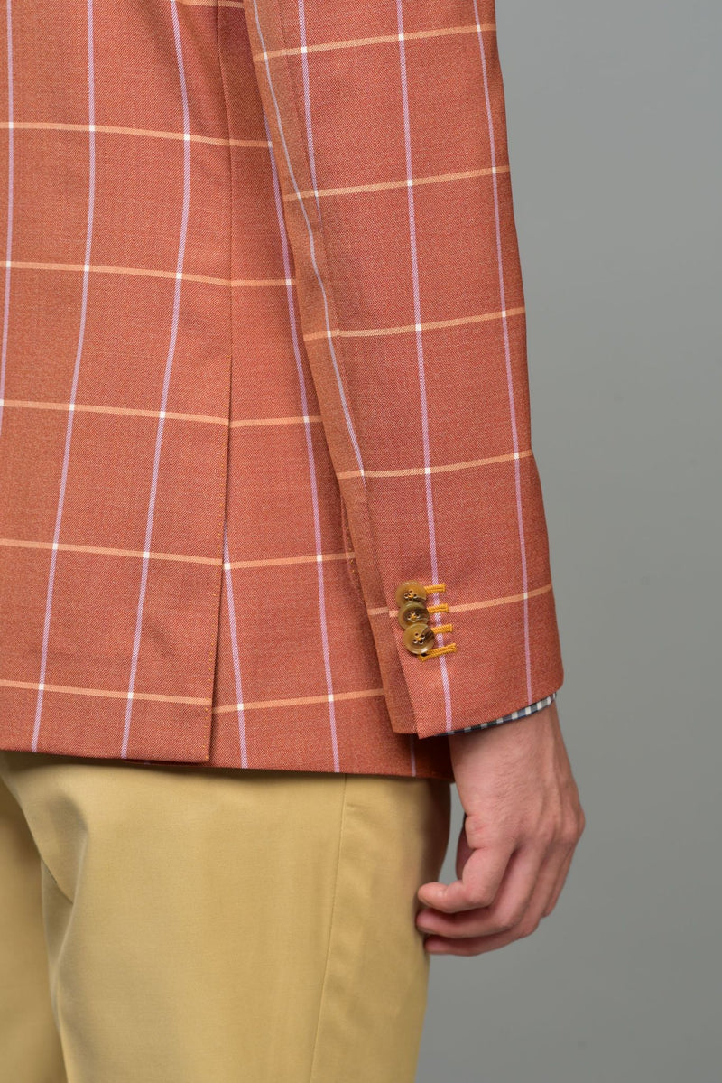 Made-to-Order Orange Windowpane Check Hopsack Wool Sports Jacket