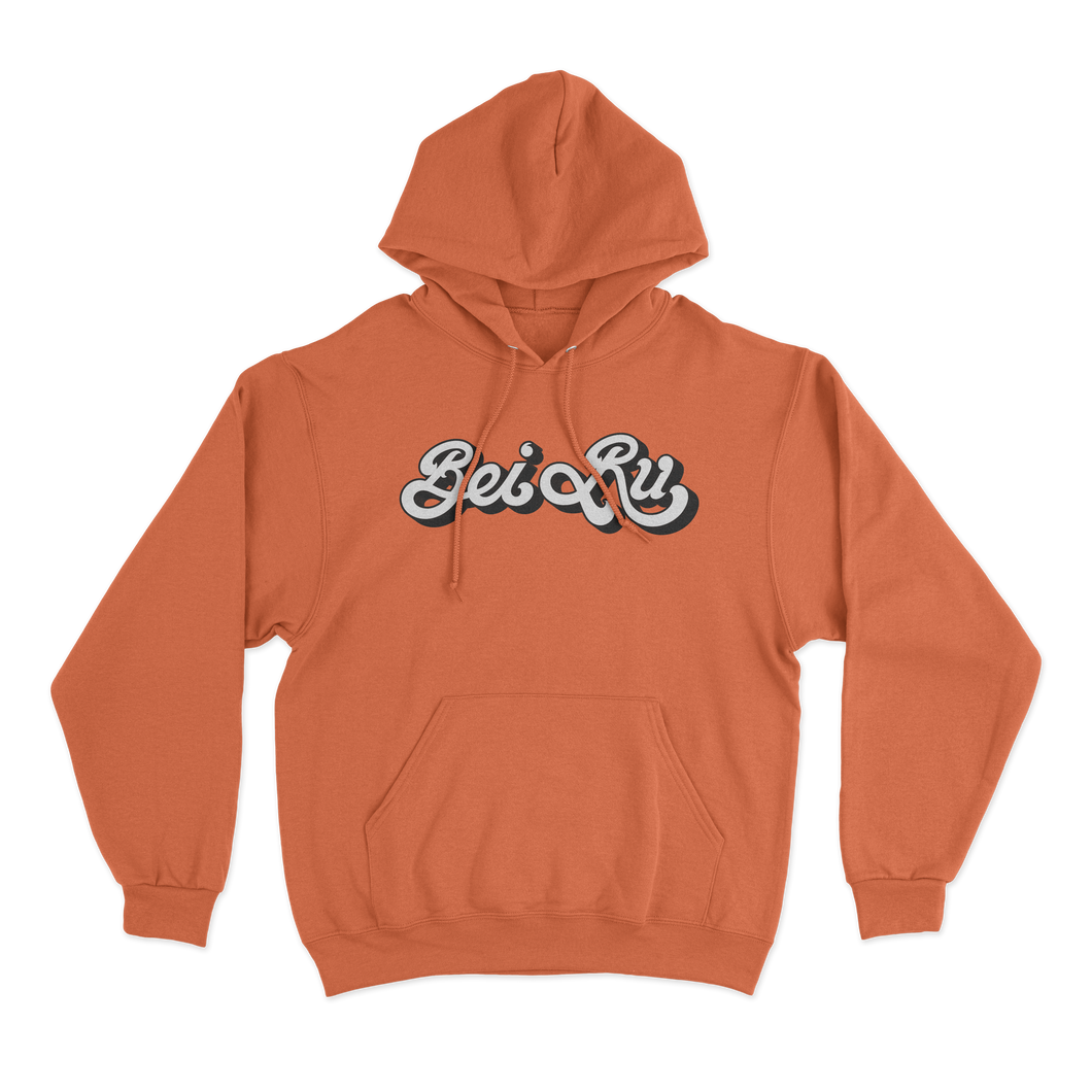 'Bei Ru Script' Zip-Up Hoodie (Orange)