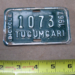 Bicycle Licence plate Tucumcari 1967