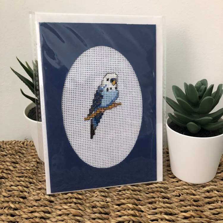 Lovely Handmade Cross Stitched Budgie Card