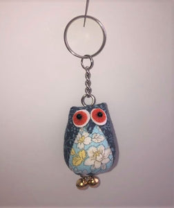Sass & Belle Vintage Owl Fabric Keyring With Mixed Floral Design