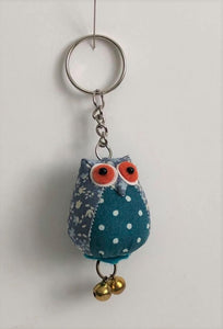 Vintage Owl Fabric Keyring With Floral & Spot Mix Design