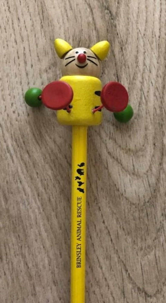 Brinsley Animal Rescue Yellow Cat Topper Pencil With Logo.