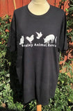 Size XXL Black Short Sleeved Charity Tee Shirt With Logo.
