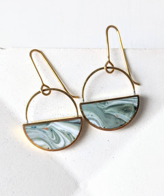 Brass Green and White Swirled Resin Half Moon Earrings