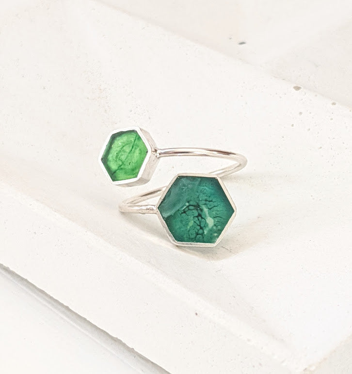 Sterling Silver Double Hexagon Green Resin Ring