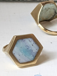 Blue Streaks Hexagon Ring