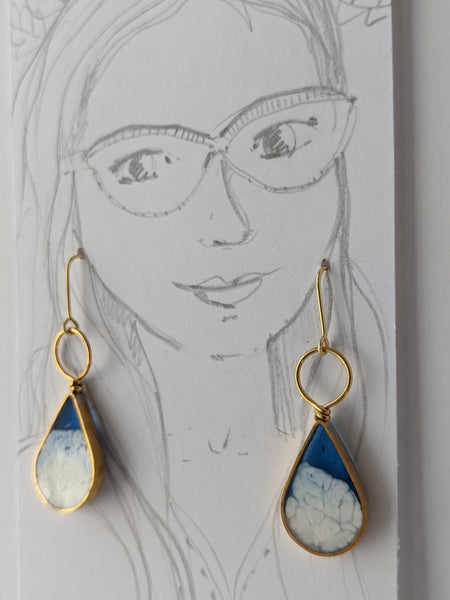 Brass Blue and White Resin Teardrop with Circle Loop Earrings