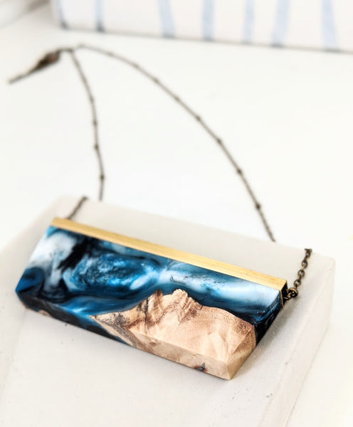 """Waves Crashing On Beach"" Wood and Resin Necklace"