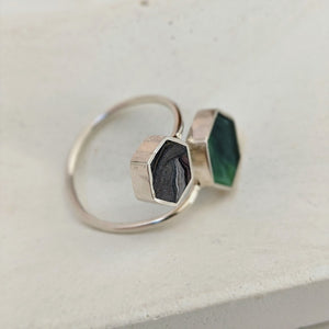 Sterling Silver Double Hexagon Dark Green and Gray Resin Ring