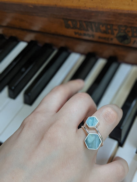 Sterling Silver Double Hexagon Blue Streaks Resin Ring