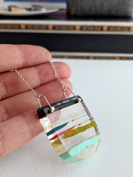 Retro Streaks Surfite Resin Necklace with Sterling Silver Chain