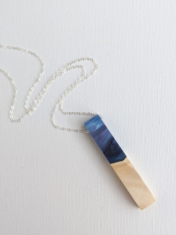 Stormy Waters Wood and Resin Necklace with Sterling Silver Chain
