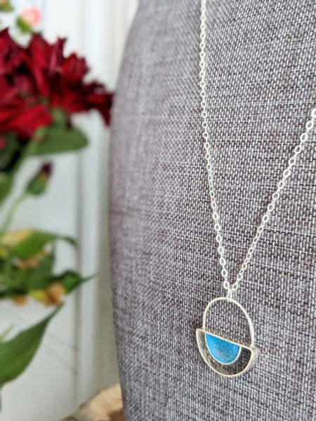 Art Deco Sterling Silver Half Moon and Blue Eco-resin Necklace