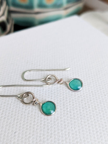 Tiny Circle Sterling Silver Earrings
