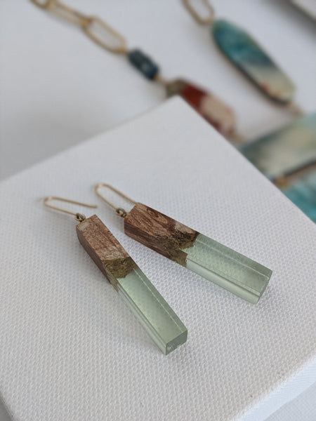 Sea Glass Rectangle Wood and Resin Earrings