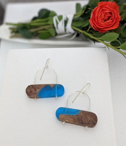Horizontal Oval Sterling Silver Arch Wood and Resin Earrings