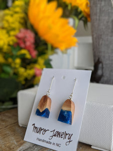 Mini Arched Blue Resin and Wood Dangle Earrings