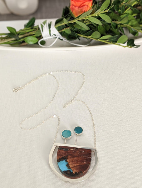 Blue Mountain - One Of A Kind Wood and Sterling Silver Necklace