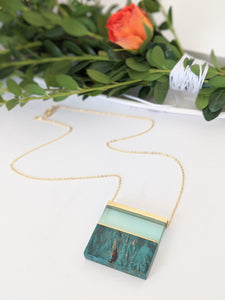 Green Tinted Landscape Wood and Resin Necklace