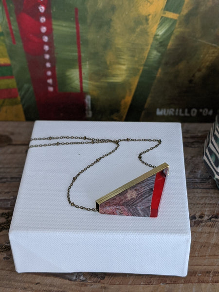 Lava Red Resin and Wood Triangle Necklace