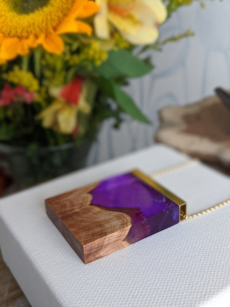 Purple Haze Landscape Wood and Resin Necklace