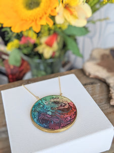 Water Lilies Pond Circle Brass and Resin Necklace
