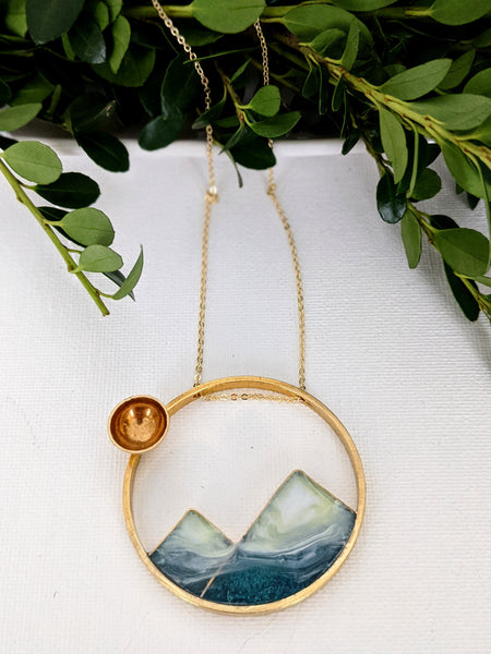Foggy Mountains Landscape Necklace