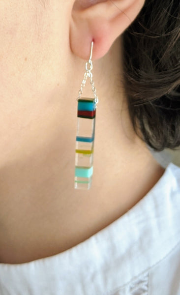 Surfite Sterling Silver Rectangle Dangle Earrings